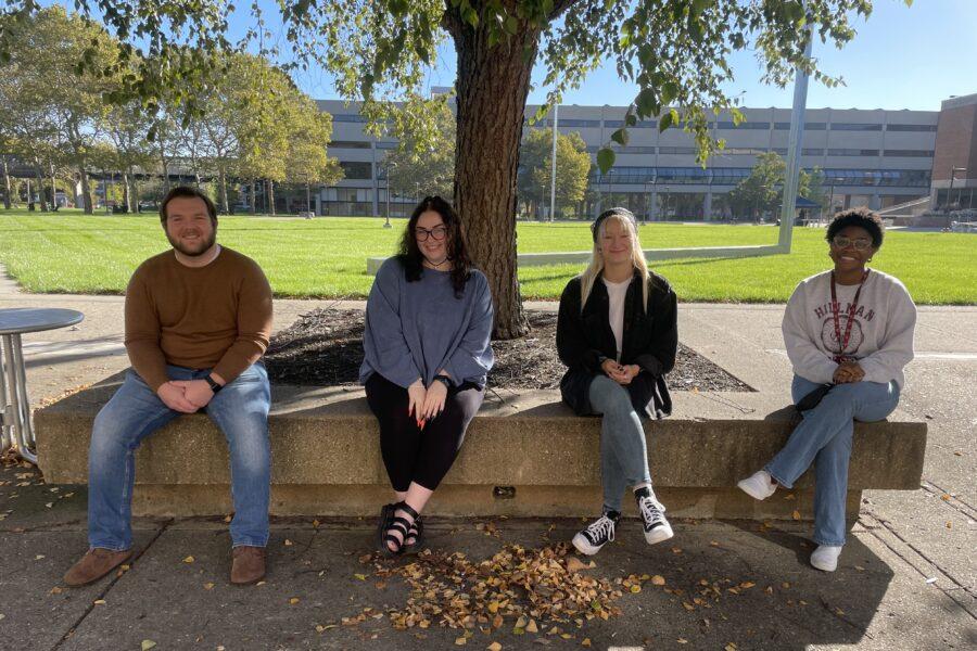 Photo of department social media ambassadors (from left) Jacob Keith, Christina Poetz, Katie Wiseman, Camryn Daniels
