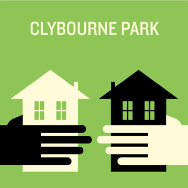 An illustration of two hands holding houses under the words 'Clybourne Park'