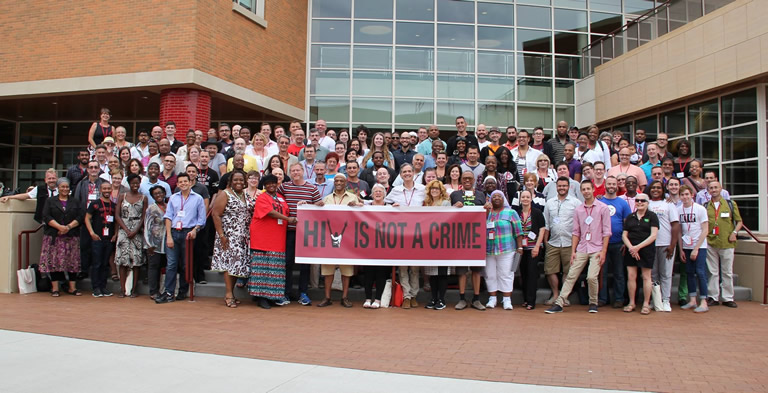 Group picture from the First National HIV is not a Crime Training Academy held at Grinnell College in 2014. Image courtesy of the SERO Project.