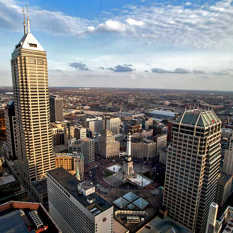The downtown Indianapolis skyline