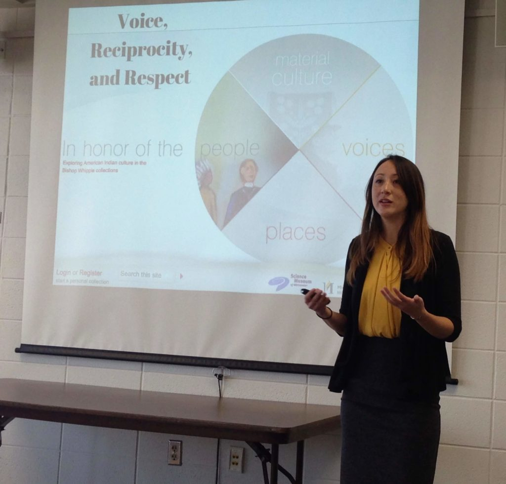 A graduate student presents her internship applied research project.