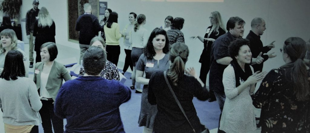 Students, alumni, and museum professionals mingle at the annual networking event.