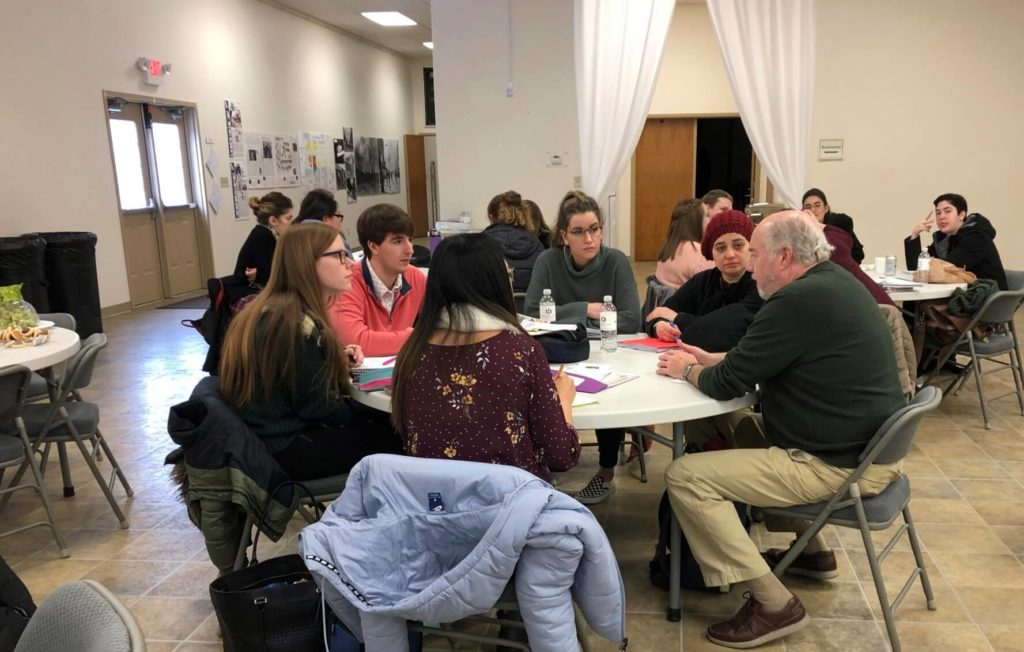 Students and Wayne County Historical Museum board members collaborate on a strategic plan.