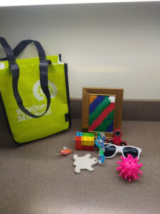 A tote bag next to objects including sunglasses, a rubber toy, blocks, and a painting.