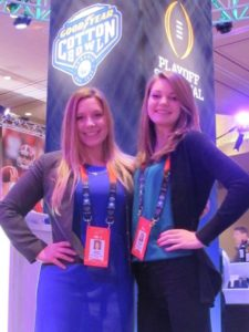 Sports Capital Journalism Program students Jessica Wimsatt (left) and Elizabeth Cotter (right) at Cotton Bowl media day on Dec. 28.