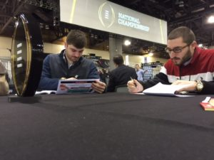 Frank Gogola (right) and Zach Wagner preparing before the start of Media Day on Jan. 9.