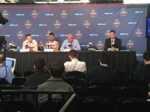 David Mackey - (Left to right) Syracuse Trevor Cooney, Michael Gbonije, Jim Boehheim
